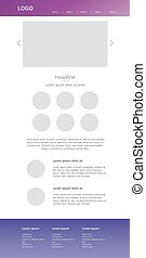 Vector drawing website. Purple web template