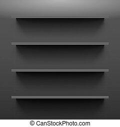 Shelves - Four gorizontal black bookshelves on the dark wall