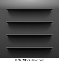 Shelves - Four gorizontal black bookshelves on a dark wall