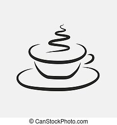Abstract vector drawing of a cup of coffee or tea