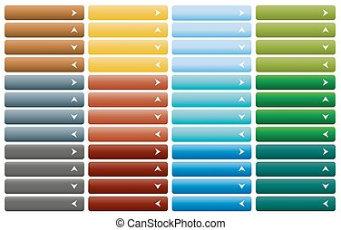 Set of web buttons with arrow in color combination