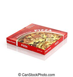3D Pizza paper package isolated on white