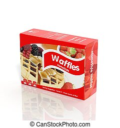 3D Waffles paper package isolated on white