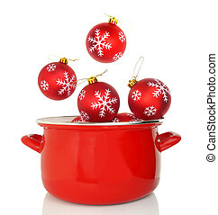 Red cooking pot with Christmas ornaments