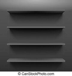 Shelves - Gorizontal black bookshelves on the dark wall