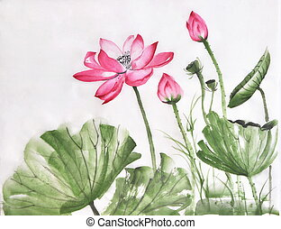 Lotus flower watercolor painting on rice paper, original...