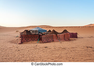 Bedouin camp in the sahara desert. Morocco, Africa