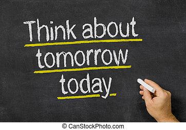 pizarra, con, el, texto, pensar, sobre, mañana, hoy,