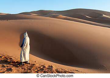 Bedouin in the sahara desert. Morocco, Africa