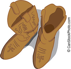 Cowboy boots - Vector illustration of cowboy boots looking...