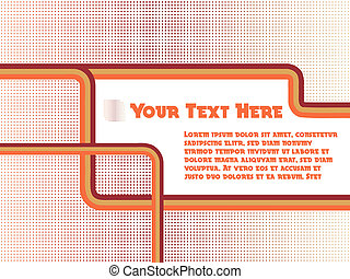 Retro lines background in orange and red tones with room for...
