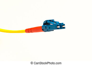 Glasfaserkabel Anschluss LC - Ein Glasfaserkabel LC in gelb,...