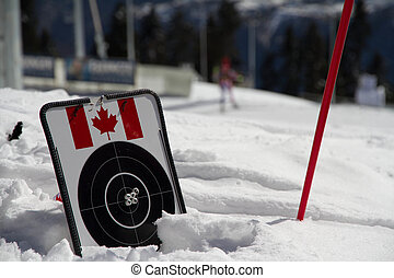 target for biathlon on the snow witn canadian flag