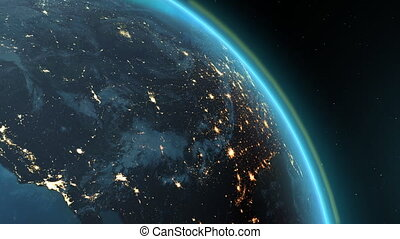 America zone with aurora - New highly detailed earth....