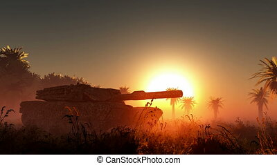 old rusted tank and sun in desert
