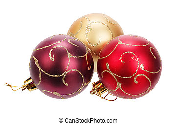 Beautiful christmas balls isolated on white background