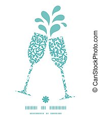 Vector abstract underwater plants toasting wine glasses...