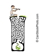 Vector Maze, Labyrinth with Snake and Fakir - Vector Maze,...