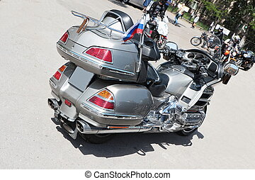 Powerful motorbike. - Rear view of a powerful modern...