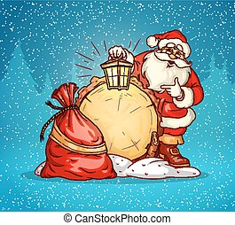 Santa Claus with lantern and sack of gifts