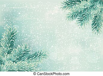 Christmas retro background with christmas tree branches....