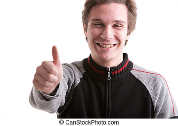 everythyings all right man - thumbs up by young man smiling