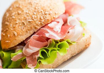 Prosciutto sandwich angled view - Prosciutto sandwich on...