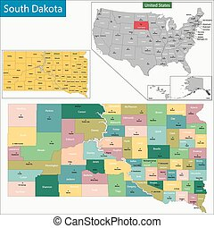 South Dakota map - Map of South Dakota state designed in...
