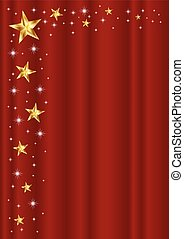 STAR FRAME ON RED CURTAIN