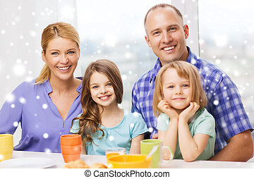 happy family with two kids having breakfast - food, family,...