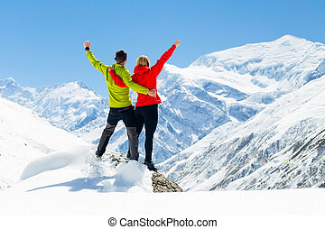 Hiking success, woman in winter mountains - Hiking woman and...