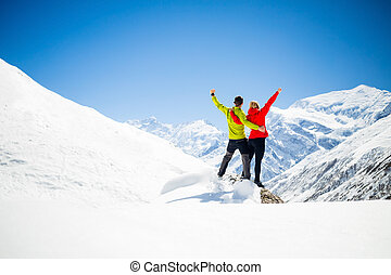 Couple hiking success in mountains - Couple hikers man and...