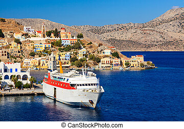 Symi Ferry Greece - Overlooking the Harbour at Symi Greece...