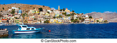 Symi Greece Europe - Panoramic shot of the Harbour at Symi...