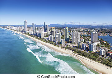 Gold Coast, Queensland, Australia - Aerial view of Gold...
