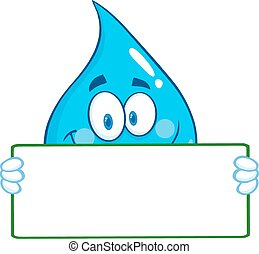 Water Drop Holding A Banner - Water Drop Character Holding A...
