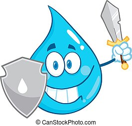 Water Drop With Shield And Sword - Water Drop Cartoon Mascot...