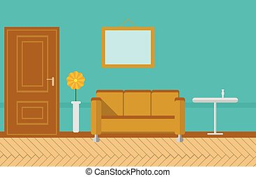 Flat vector illustration for sitting-room - Sitting room or...