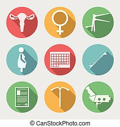 Flat vector icons for Obstetrics and Gynecology - Set of...