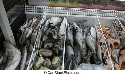 Frozen fish in the freezer