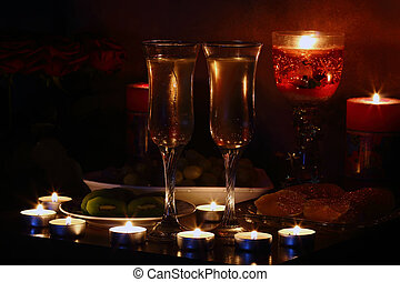 Romantic evening, champagne and candle