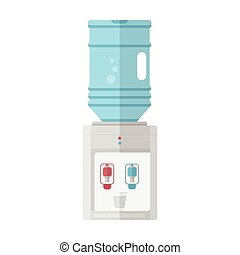 Flat vector icon for water cooler - Gray water cooler with...