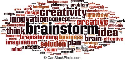 Brainstorm word cloud concept. Vector illustration
