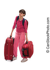 Heavy lagguages - Young teenager carry heavy huge luggages