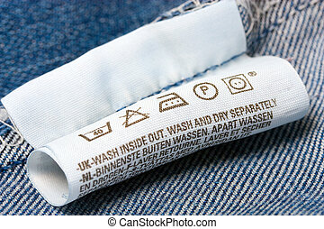 blue jeans Label clothes - Clothes label with cleaning...
