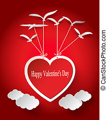 Valentines day Abstract paper hearts - Vector illustration...