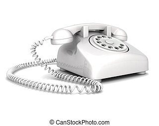 landline phone - three dimensional landline phone with white...