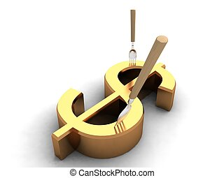 three dimensional dollar sign and forks