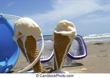 Summer Ice Cream on the Beach - Vanilla ice cream cones...