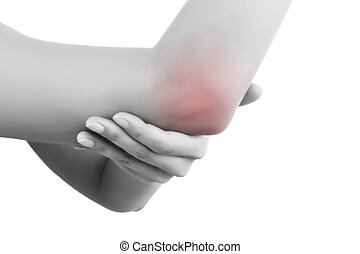 Elbow pain. - Close up on highlighted pain area, elbow pain....